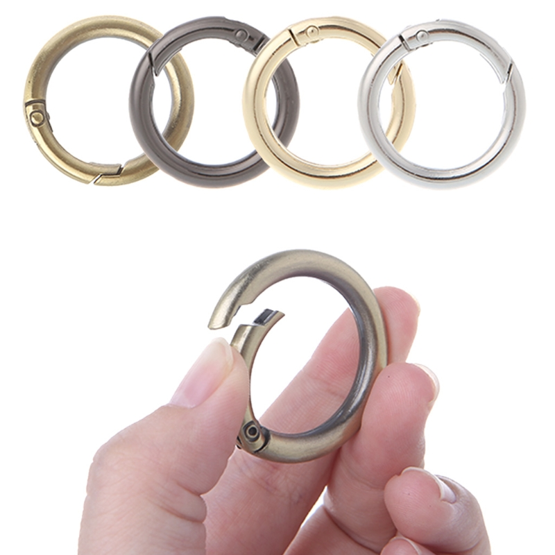 5PCS Round Ring Circle Spring Snap For DIY Keyring Hook Bag Buckle Handbag Purse