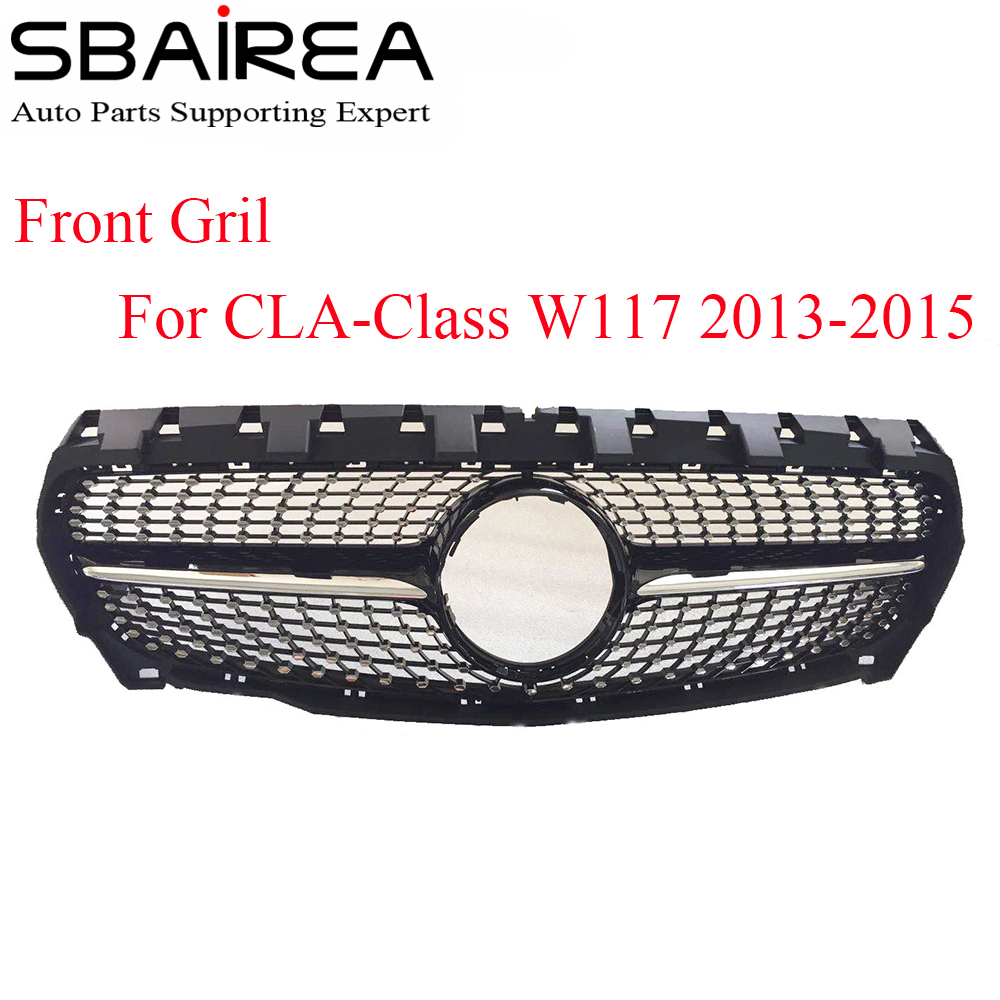 Grille avant de voiture SBAIREA W117 calandre diamantée pour mercedes-benz CLA classe W117 CLA180 CLA200 CLA250 CLA45 Grille de course Sport