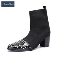 Christia Bella Fashion Rivets Simplicity Stretch Fabric Men Sock Boots Large Size Pointed Toe Slip on Formal Party Dress Shoes