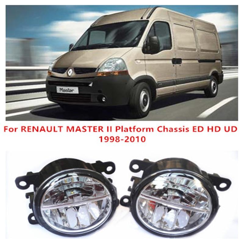 ФОТО For RENAULT MASTER II Platform Chassis ED HD UD  1998-2010 10W Fog Light LED DRL Daytime Running Lights Car Styling lamps
