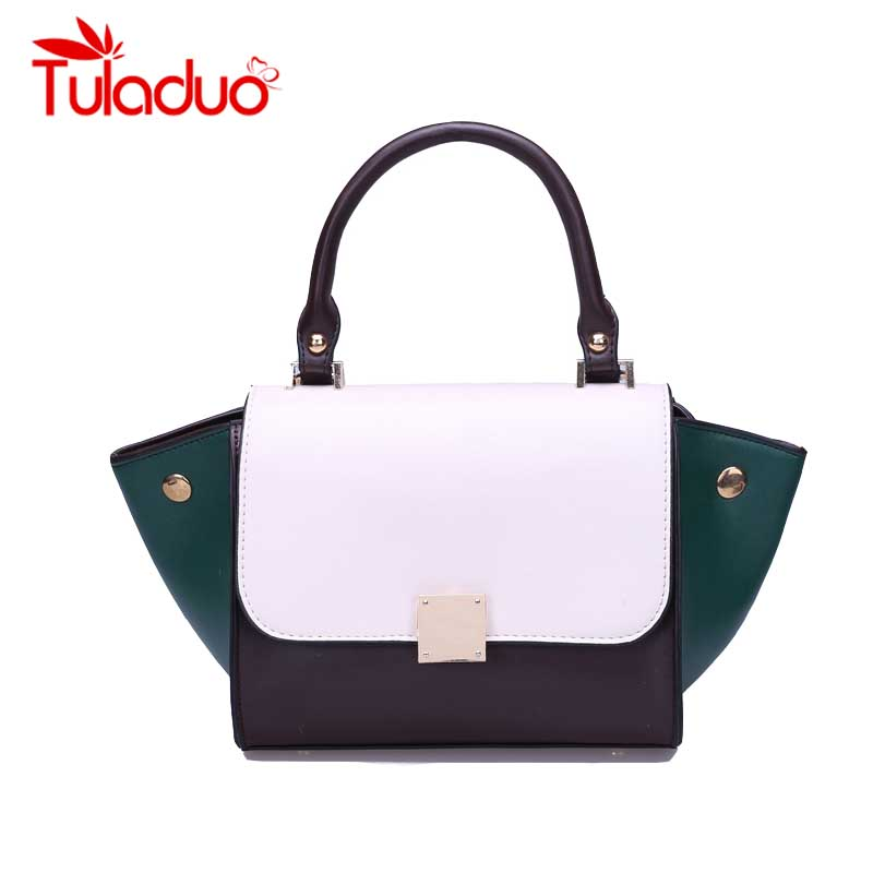 2017 Panelled Tote Bag Women Trapeze Fashion Designer Handbags PU Leather Women Messenger Bags Rivet Bag Female Bolsa Feminina
