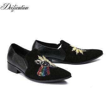 Deification Luxury Design Mocasines Hombre Elegant Sequins Studded Mens Suede Loafers Casual Driving Shoes Plus Big Size 38-46