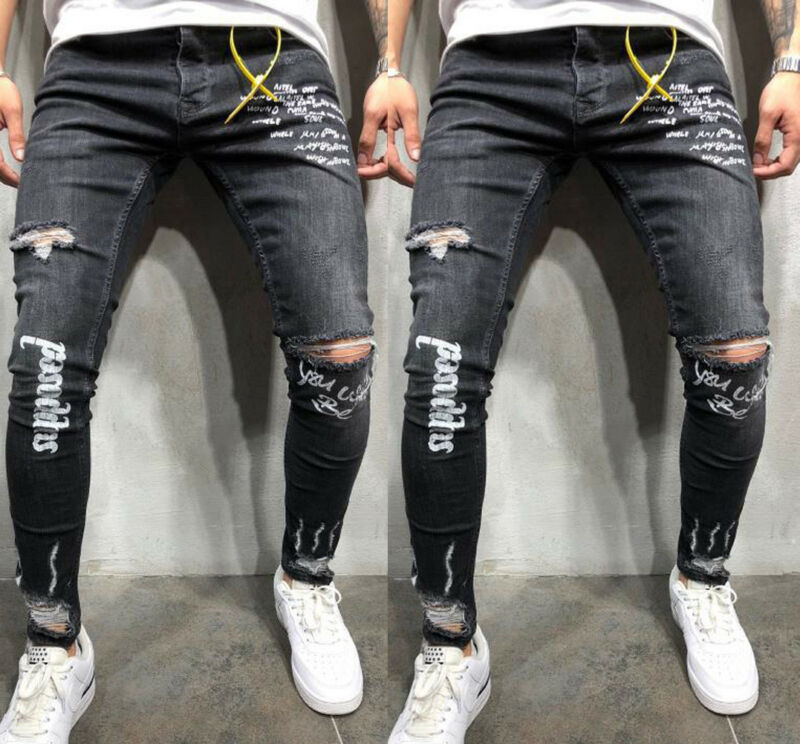 Newest Men Stretchy Ripped Skinny Men's Ripped Skinny Biker Jeans Destroyed Frayed Distressed Slim Fit Denim Pants High Quality