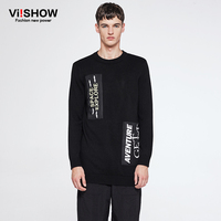 VIISHOW New Autumn Letter Sweater Men Pullovers Brand Clothing Long Sleeve Fashion SWEATERS Patch Designs Men's Wearing ZCZ0263