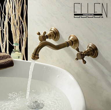 ФОТО Antique bathroom faucet wall mounted double handle mixer tap Basin faucet