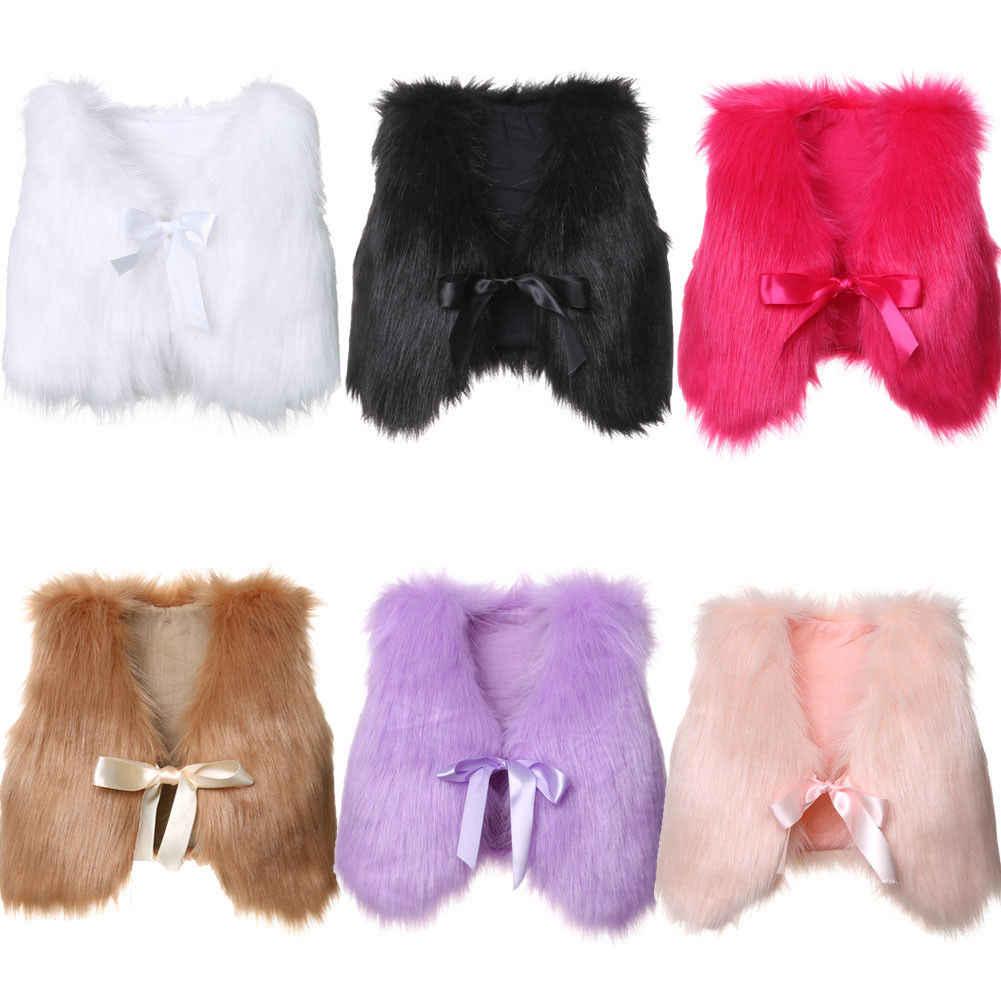 6 cores Novas Da Criança Do Bebê Crianças Meninas Inverno Faux Fur Vest Colete Sem Mangas Sólidos Bowknot Cinto Casaco Quente Outwear Jaqueta
