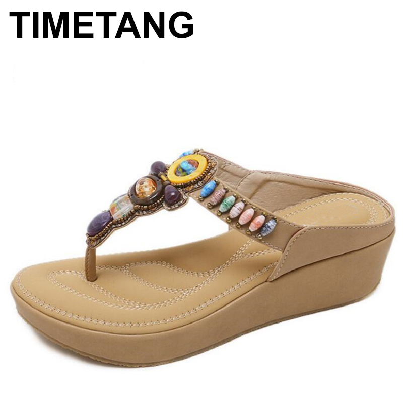 551ab3b6113c69 Detail Feedback Questions about TIMETANG Wedge Flip Flops Women High Heels  Summer Shoes Bohemian Beaded Platform Sandals Woman Shoes Sandalias Big  Size ...