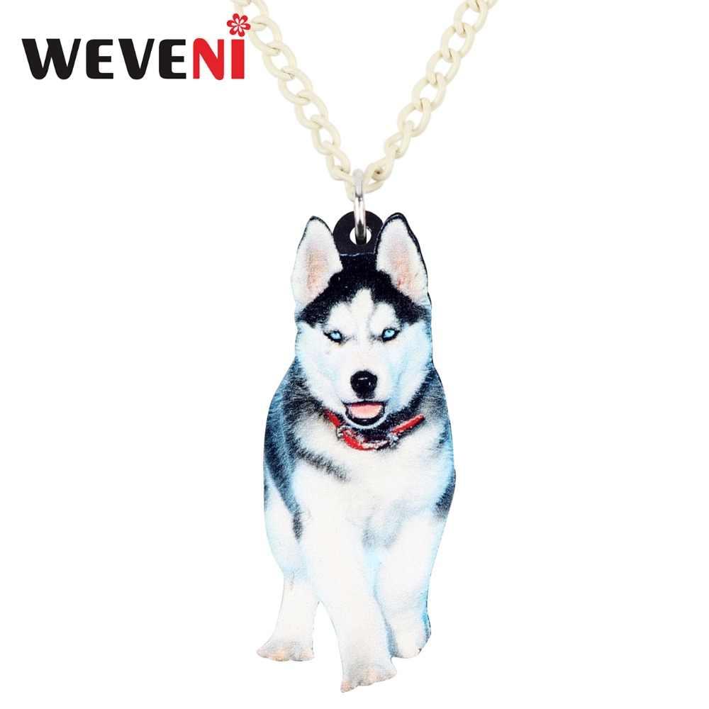 WEVENI อะคริลิคอินเทรนด์ Siberian Husky Dog สร้อยคอสร้อยคอสร้อยคอสร้อยคอสร้อยคอ Choker อะนิเมะสัตว์เครื่องประดับสำหรับหญิงสาวร้อนขายส่งของขวัญ