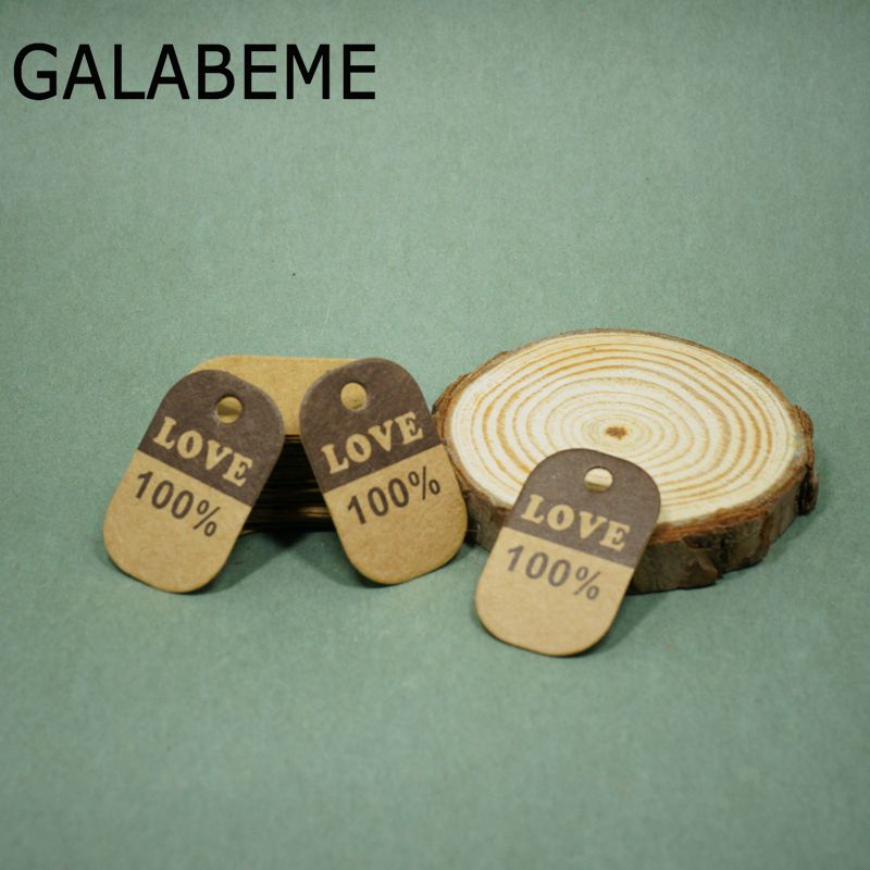Galabeme 100pcs Made with Love Sign Paper Kraft Paper Tags Head Label Luggage Wedding Party Note DIY Blank Price Hang tag