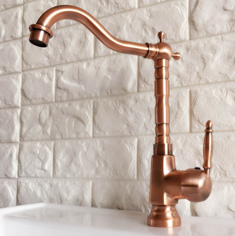 Antique Red Copper Brass Bathroom Kitchen Basin Sink Faucet Mixer Tap Swivel Spout Single Handle One Hole Deck Mounted Mnf401