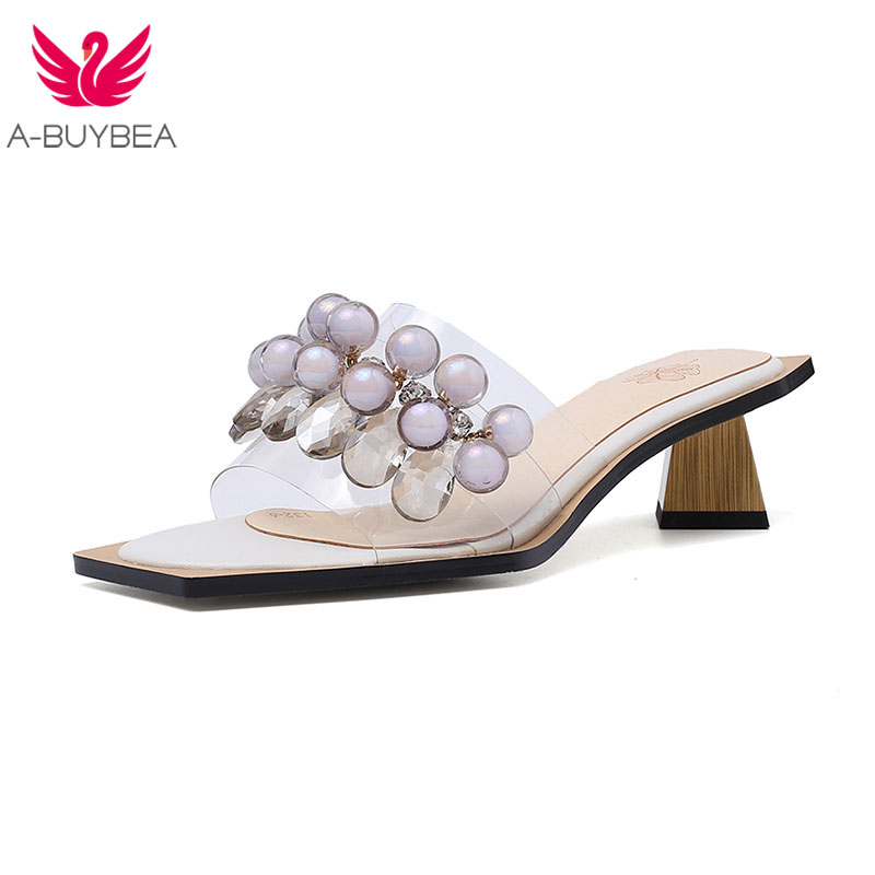 Style Outside Slippers Women Pvc Shoes String Bead Low Heels Shoes Crystal Strange Heels Ladies Casual Summer Footwear Size 42Style Outside Slippers Women Pvc Shoes String Bead Low Heels Shoes Crystal Strange Heels Ladies Casual Summer Footwear Size 42