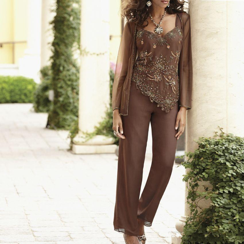 Brown 2019 Mother Of The Bride Dresses Sheath With Jacket Chiffon Beaded Pants Formal Groom Long Mother Dresses For Wedding