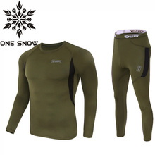 ONE SNOW New Brand Men Thermal Underwear Sets Compression Fleece Sweat Quick Drying Thermo Underwear Men Clothing Hiking Jacket