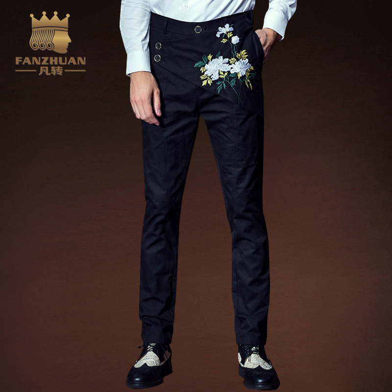FANZHUAN Featured Brands Clothing Men Casual Pants Gothic Pants  Men's  Embroidered Pants Mens Pants Slim Fit Irregular Trousers