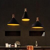 อลูมิเนียมโคมไฟจี้ย้อนยุคสีดำจี้โคมไฟห้องรับประทานอาหารแฮนด์