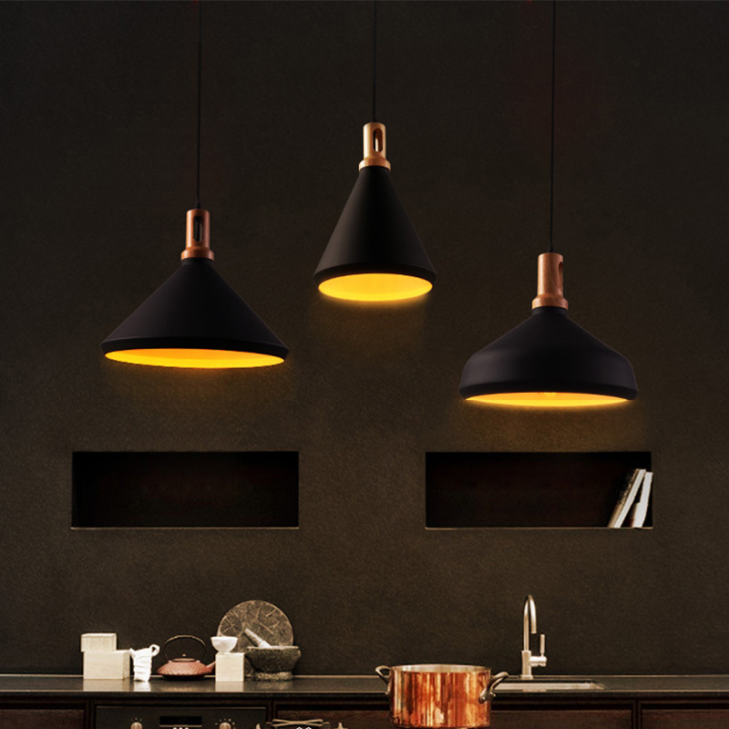€59.43 15% de DESCUENTO Lámparas colgantes de aluminio retro negro lámpara  colgante comedor colgante artesanal luces artístico de madera colgante ...