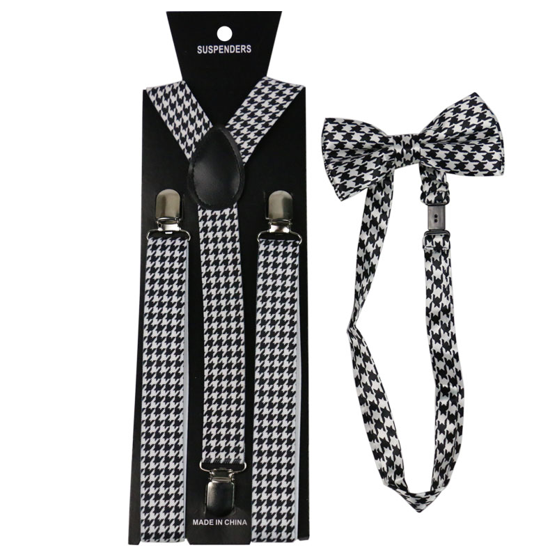 Winfox Fashion Black White Houndstooth Bow Tie And Suspenders Sets For Women Men