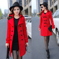 Высокое качество 2017 новая взлетно-посадочная полоса осенью abrigos женщины с длинным рукавом красный двубортный твид пальто