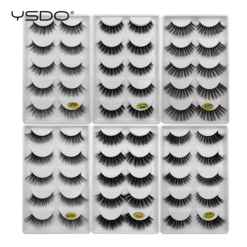 YSDO Mink Eyelashes HandMade Makeup 3D Lashes Natural False Long Extension 5 Pairs Faux Fake