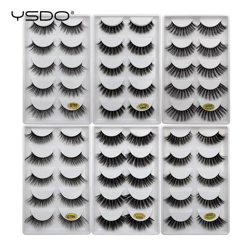 YSDO Mink Eyelashes HandMade Makeup 3D Mink Lashes Natural False Eyelashes Long Eyelashes Extension 5 Pairs Faux Fake Lashes