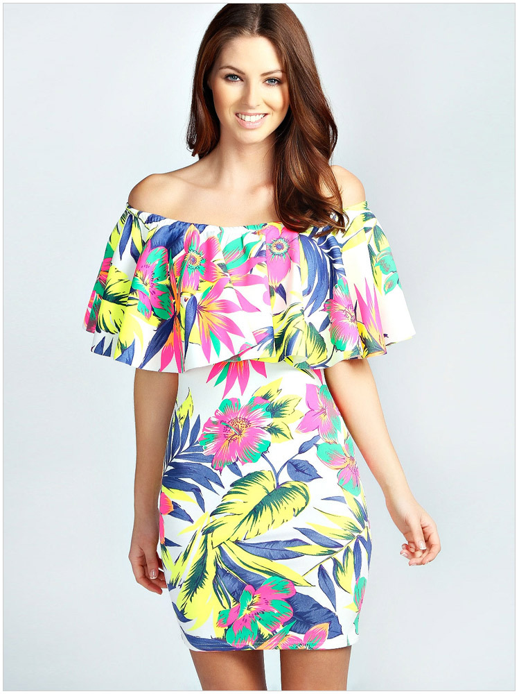 Hawaiian Mini Dresses Off Shoulder For Women Vestidos In
