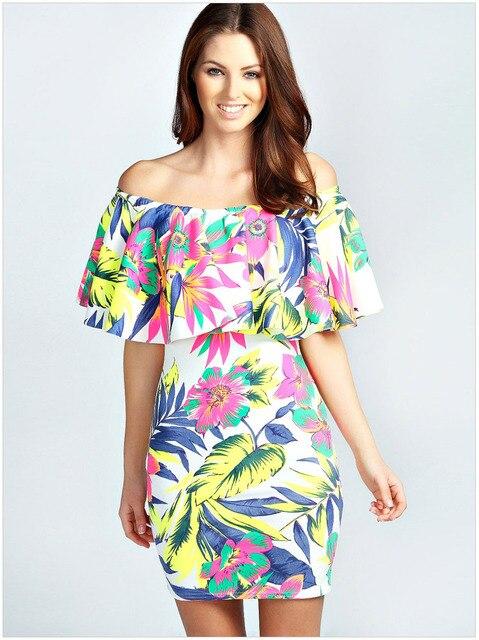 Hawaiian Mini Dresses Off Shoulder For Women Vestidos