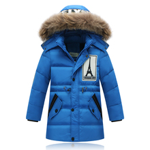 2016 New Arrive Winter Children Boys Down Jacket Fashion Big Fur Collar Long Thick Warm Sports Windpfoor Down & Parkas 4-8year