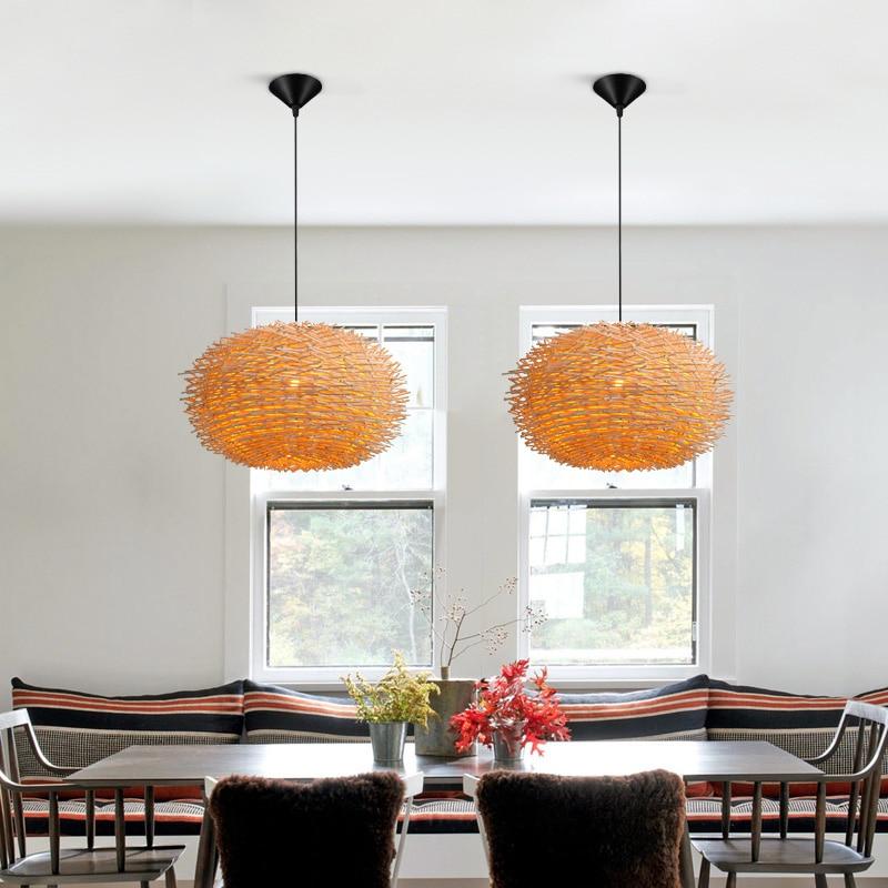 Lights & Lighting Honest Rattan Man-made Nest Bird Cage Lamp Wood Pendant Lights Ac 110/220v E27 30/40/50cm With Incandescent Bulbs For Light Home Decor Buy One Get One Free