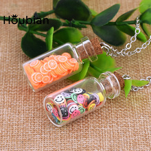 Crystal Glass Wishing Bottle Pendant Necklace Candy Color Cartoon Soft Clay Accessories for Girls