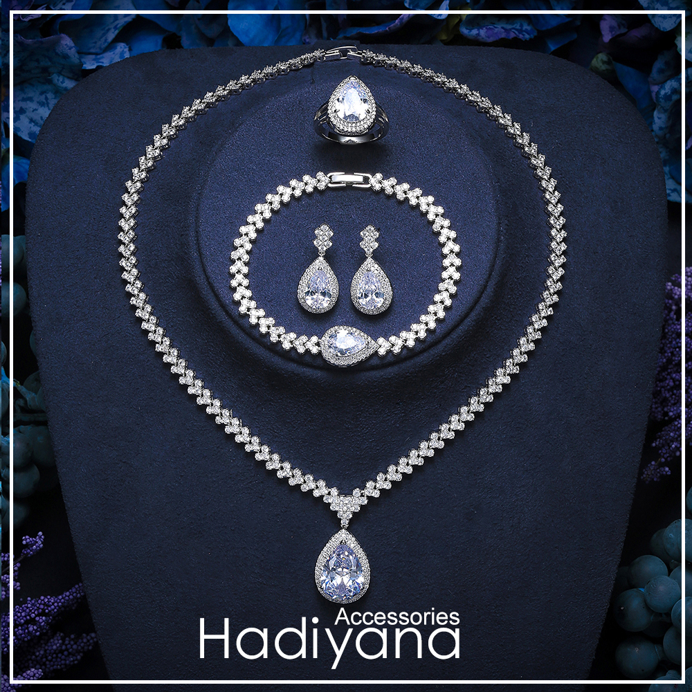 Hadiyana Luxury Brilliant Clear Zirconia Waterdrop Jewelry Set Fashion Wedding Bridal Earring&Necklace&Bracelet&ring Sets TZ8148Hadiyana Luxury Brilliant Clear Zirconia Waterdrop Jewelry Set Fashion Wedding Bridal Earring&Necklace&Bracelet&ring Sets TZ8148