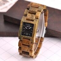 Reloj femenino de madera cuadrado pulso madera 4