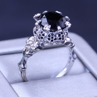 Top Selling Wholesale Punk Jewelry 10KT White Gold Filled 5A Black Cubic Zirconia Prong Party Women Wedding Skull Character ring