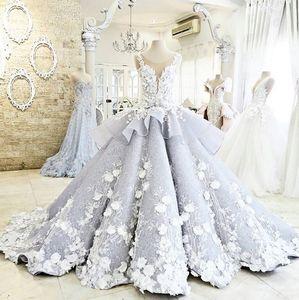Image 2 - Dreamy Blume Prinzessin Hochzeit Kleider Luxus Bunte Brautkleider Robe De Mariage Sehen Obwohl Perlen Braut Kleid W201715