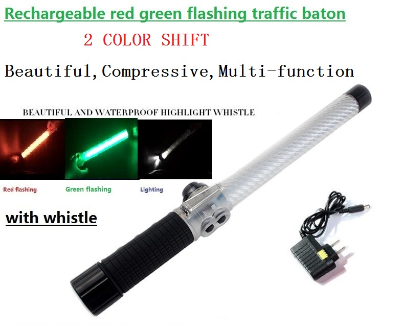 40cm rechargeable multi-function red green two-color light flashing traffic baton with whistle & magnet ...