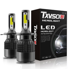 2Pcs 14400LM 144W/Set (72W/Each Bulb) T2-H4 high quality LED car headlight bulb. H4 headlight, lamp 12V 24V.