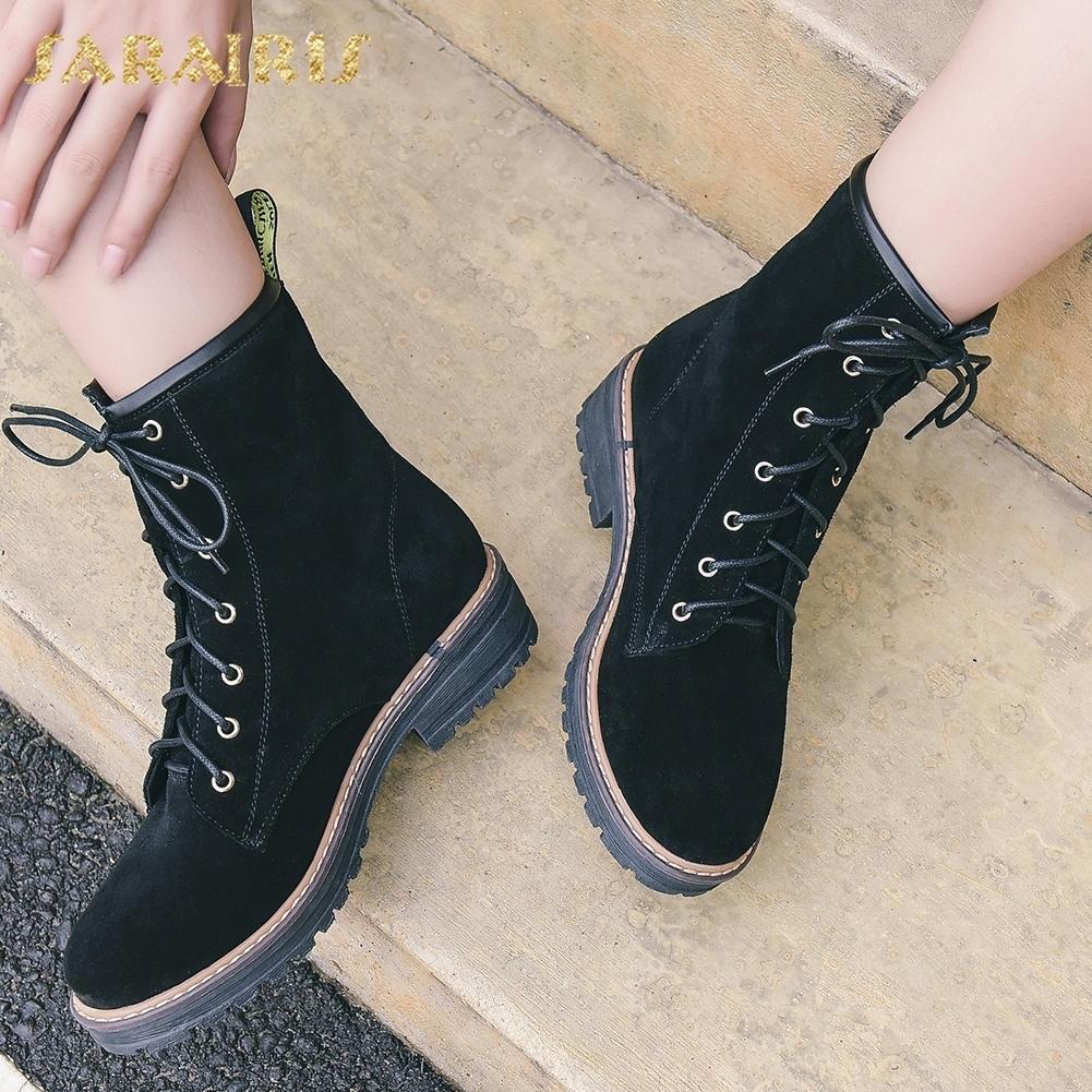 Sarairis Lace Zapatos Mujer Suede 2018 negro Vaca Apricot Moda Cuero Ocio  Up Botines Negros Martin ffZTqRw 118ab8ca8c0c