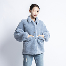 Abrigos mujer invierno 2019 winter faux fur coat women with 30% real sheep wool blends kawaii short teddy jacket