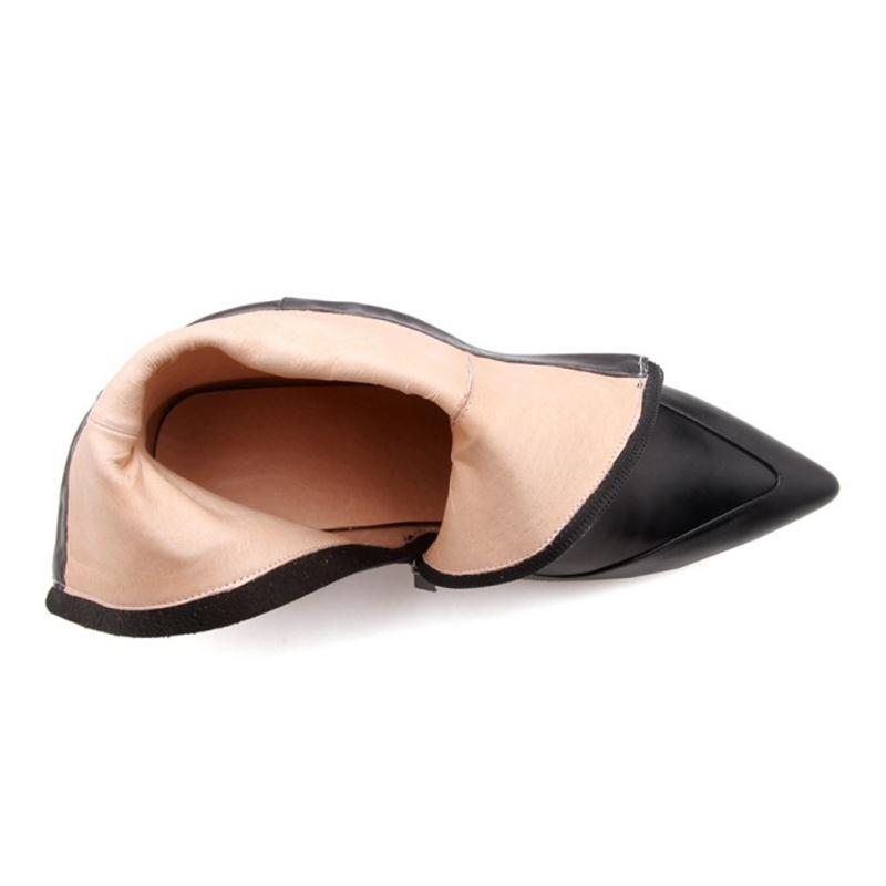 Véritable Luxe En Kemekiss Cheville Sexy Noir Chaussures ivoire À Femme Cuir Pointu De 39 Bottes Dames Taille 34 Talons Hiver Femmes Hauts Bout XtqwTg