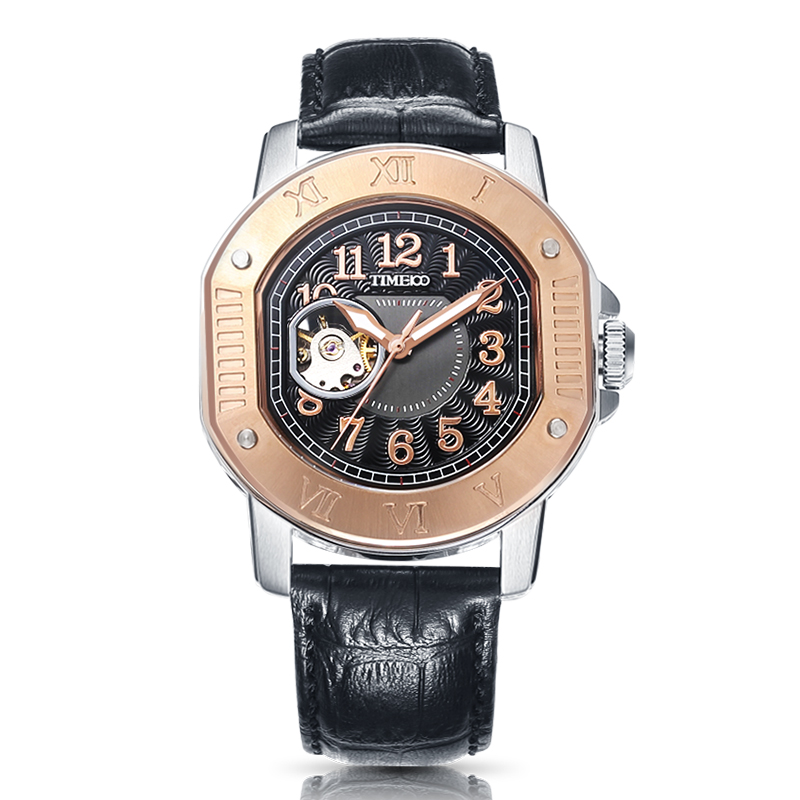где купить Time100 Cool Vintage Men Mechanical Watches Automatic Self-Wind Military Waterproof Black Leather Wrist Watch For Men Clock по лучшей цене
