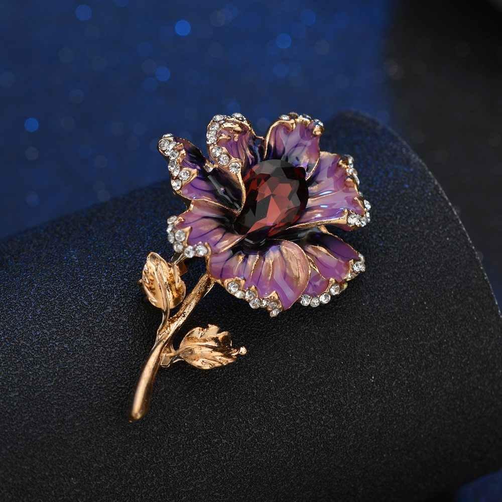 Terreau Kathy Fashion Rose Bunga Kristal Bros untuk Wanita 2019 Dress Syal Bros Pin Perhiasan Baik Aksesoris