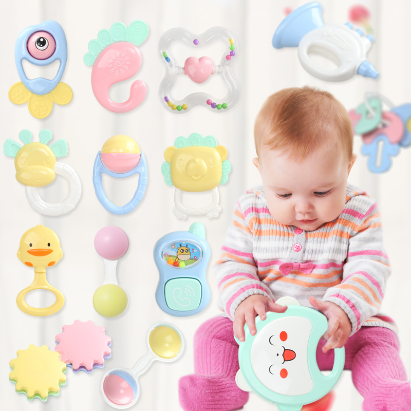 Cute Newborn Teether Baby Hand Bells 0-12 Months Hand Grab Rattle Infant Early Educational Baby Rattles Toys