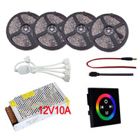 5M 20M 5050 SMD DC12V 30led/m Led Flexible Light RGB Led Strip Set +DC12V 24V 3 channel Touch RGB led Controller+ Power Adapter