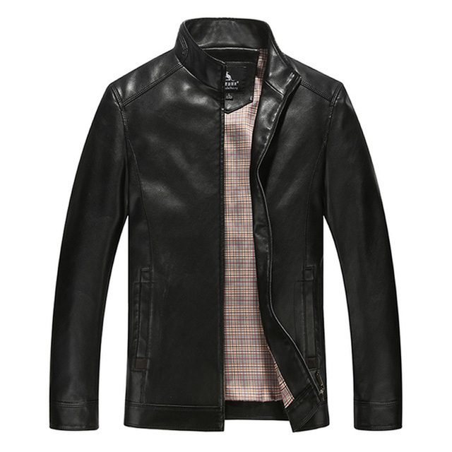 2016 New Fashion Stand Collar Jacket Leather For Men Good Quality Mens Leather Jackets And Coats US Size XS to XL
