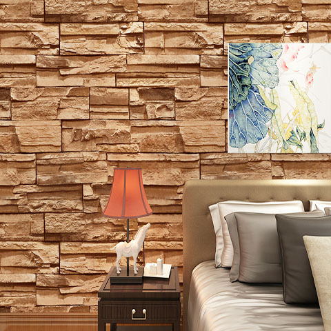 Modern Brown 3d Wallpaper Simple Stone Wallpaper For Sitting Room Decoration