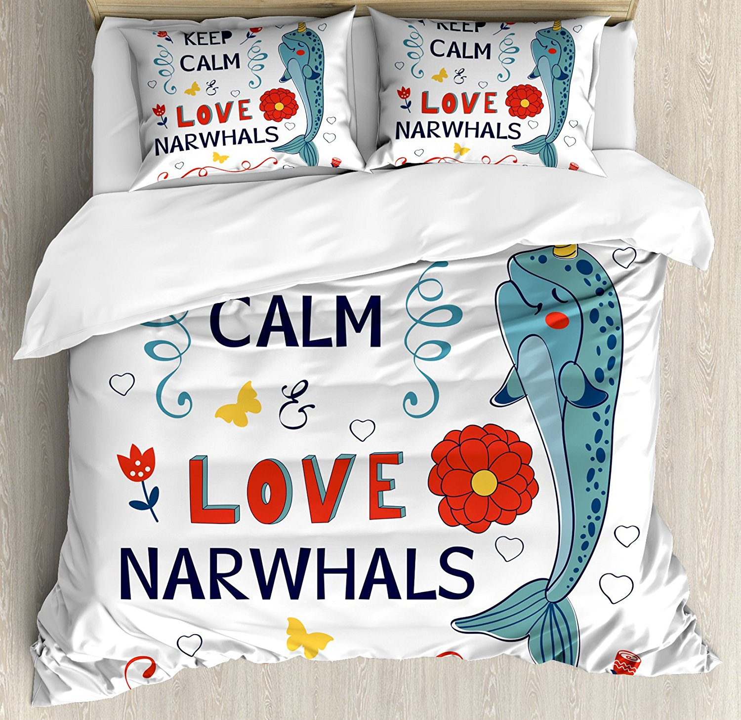 Narwhal Duvet Cover Set Culture Phrase with Unicorn of the Ocean Design Colorful Cartoon Character Decorative 4Piece Bedding Set