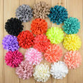 Chiffon Pierced Fabric Flower without Clip For Baby Girls Hair Accessories Hand Craft DIY 8cm 20colors 20pcs/lot