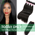 Brazilian Virgin Hair With Closure 3/4 Bundles With Closure Brazilian Straight Hair With Closure 7A  Human Hair With Closure