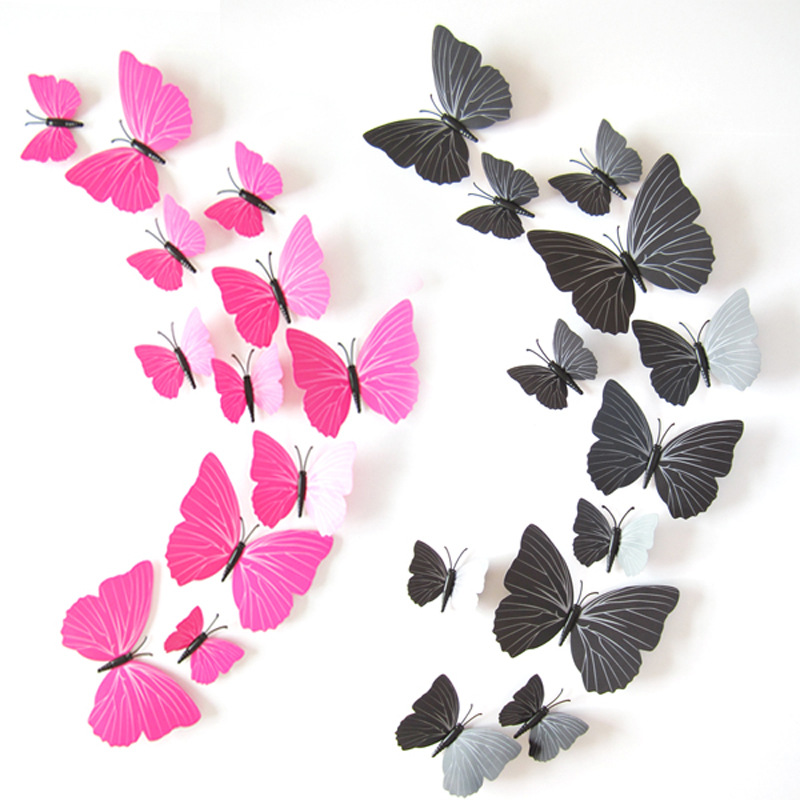 12Pcs/lot Colorful Butterfly Wall Stickers Home Decor DIY 3d Butterflies Fridge Magnet Stickers For Party Home Decoration