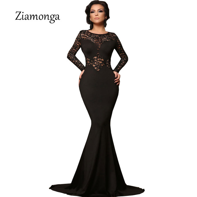 312b92a12 € 17.48 7% de réduction|Ziena grande taille Vestidos femmes Sexy soirée  robe en dentelle noire à manches longues moulante robe sirène élégante ...