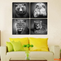 Unframed Painting Eagle Bear Leopard Lynx 4 Panels Wall Art Room Decor Animal Print Poster Picture